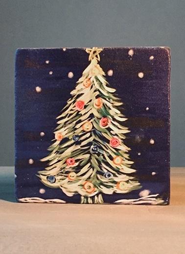 LWP Shop Yılbaşı Ağacı Traverten Bardak Altlığı Renkli